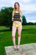 Busty Blonde Stella Cox Strips In The Garden 02