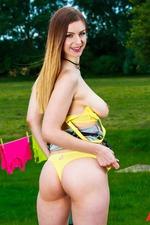 Busty Blonde Stella Cox Strips In The Garden 05
