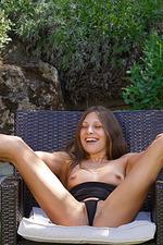 Talia Spreads Pussy In The Garden 05