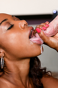 Young Ebony Girl Gives Blowjob