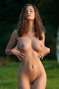 Hot Brunette In The Nature