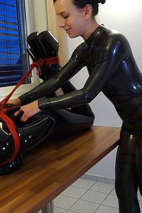 Elise Graves  Playing With Her New Rubberdoll In Bondage